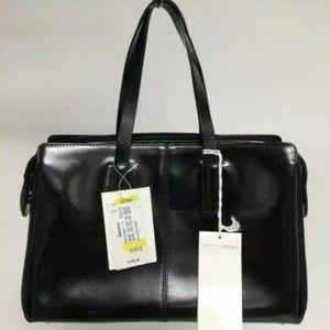 NWT Francesco Biasia Black Genuine Leather handbag